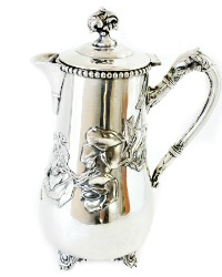 Antique Silver Plate Chocolate Pot Sweet Pea