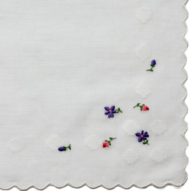 Vintage Swiss Embroidered Floral Rosebuds & Violets Handkerchief