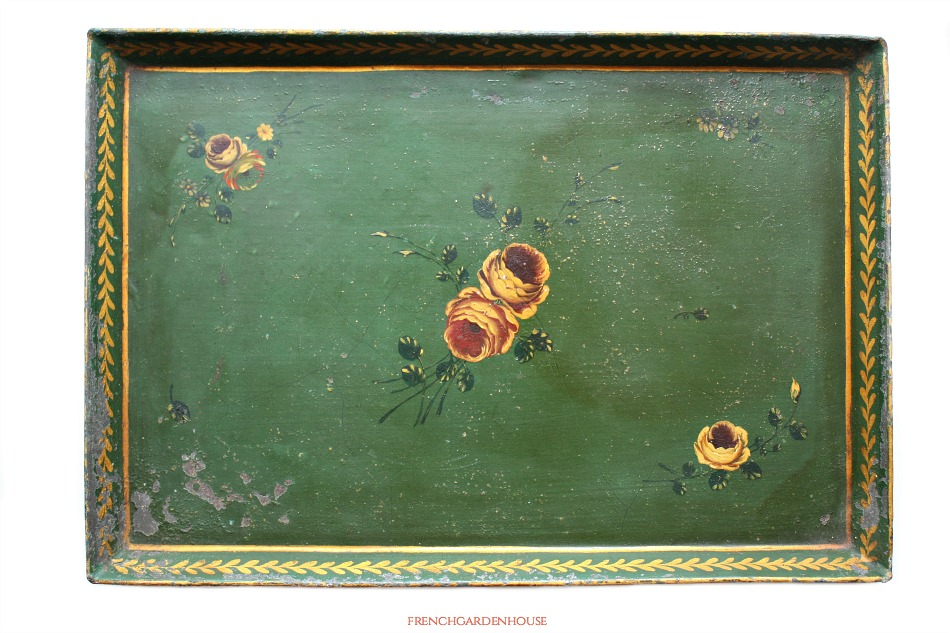 19th Century French Hand Painted Green Toleware Tray