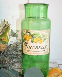 Antique French Green Glass Canning Jar Mirabelle