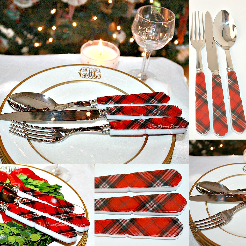 Luxury French Tartan Red Flatware Pacesetting 4 Sets