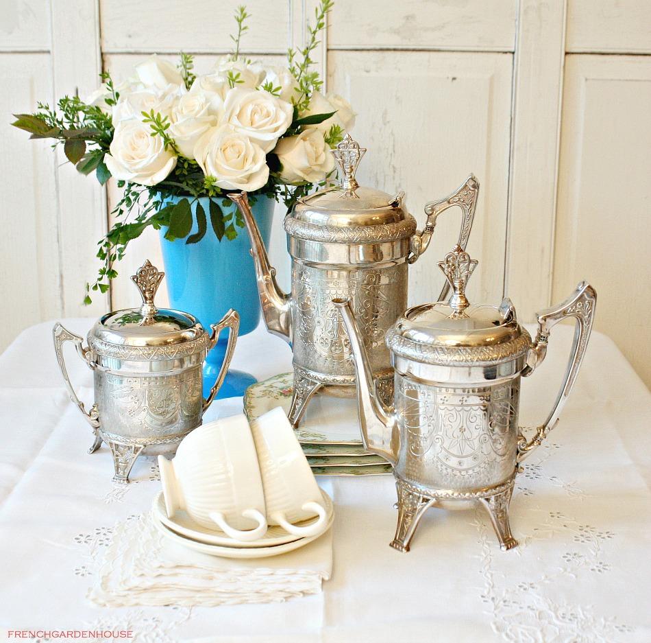 Antique Aesthetic Silver Plate Tea Service 5 Piece Set