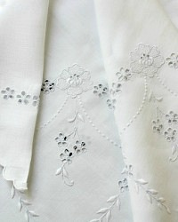 Antique Hand Embroidered Appenzell Cutwork Linen Tea Cloth Table Topper
