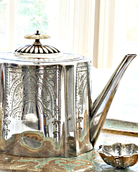 Antique Engraved Georgian Style Silver Plate Teapot