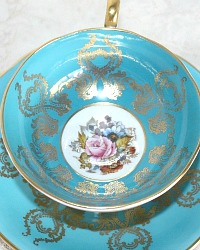 Vintage Aynsley Turquoise & Gilt Hand Painted Teacup Roses Signed