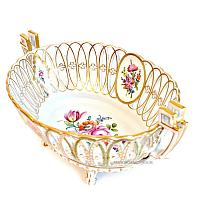 Antique Hand Painted Floral Dresden Centerpiece Bowl