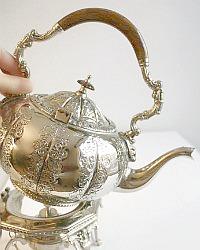 Vintage Silver Plate Tilting Tea Pot, Stand and Burner