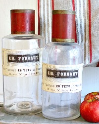 Antique French Apothecary Glass and Tole Bottle Set of 2 Fouraut
