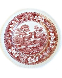 Vintage Pink Transferware Copeland Spode Tower Plates Set of 2