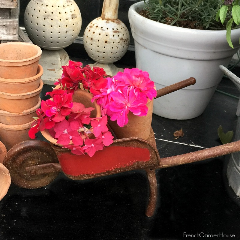 Vintage Inspired Miniature Red Metal Wheelbarrow