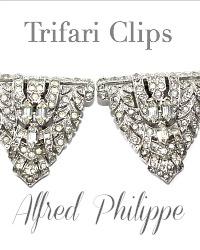 Vintage Art Deco Rhinestone Rhodium  Clips Trifari Alfred Philippe Pair