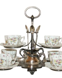 Rare 19th Century Antique Silver Tufts of Boston Afternoon Tea Service for Six Stand