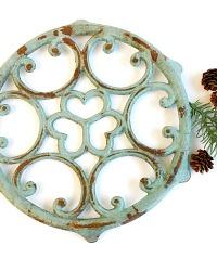 Antique French Aqua Dessous de Plat Trivet Grande