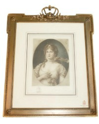 Antique Vellum Print Queen Louise Crown Gilt Gesso Frame