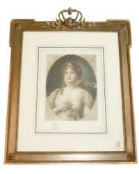 Antique Vellum Print Queen Louise Crown Gilt Gesso Frame