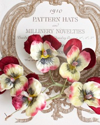 Vintage Millinery Floral Velvet Garnet Pansies Spray Set of 2