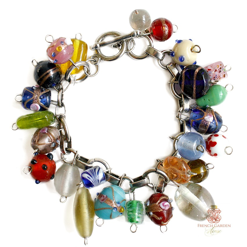 Italian Lamp Bead Charms Bracelet