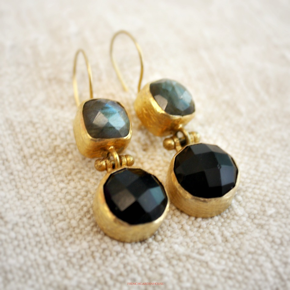 Gold Vermeil Labradorite and Onyx Earrings