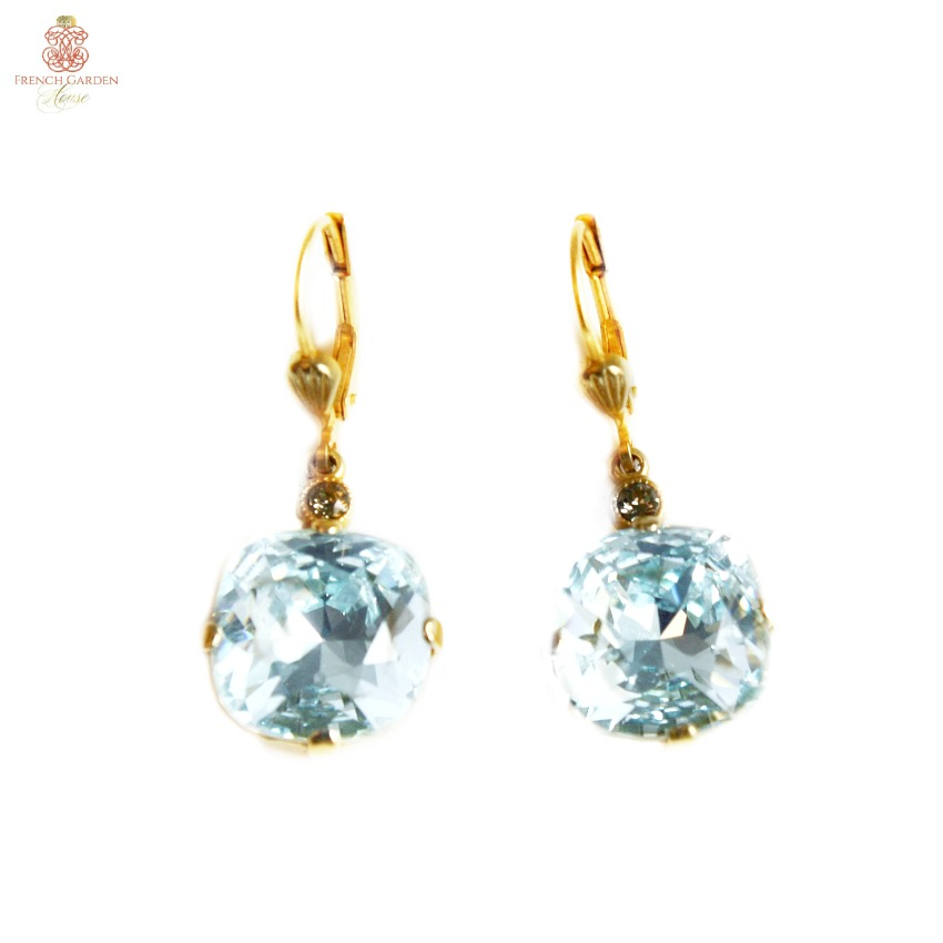 Gold & Versailles Blue Cushion Cut Crystal Earrings