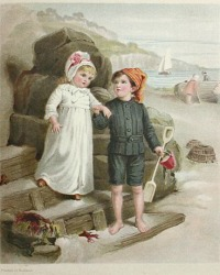 Chromolithograph Print of Victorian Children at the Seaside