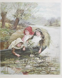 Chromolithograph Print of Victorian Children Among the Waterlilies