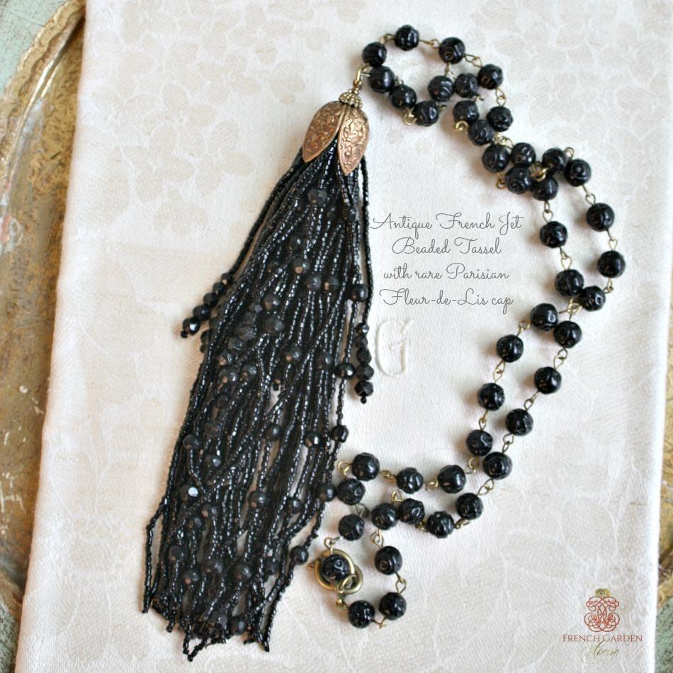 Antique French Jet Tassel Necklace Paris