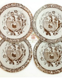 Antique 1880's Staffordshire LITTLE MAE with Eggs Plates Sepia Brown Transferware Set of 4