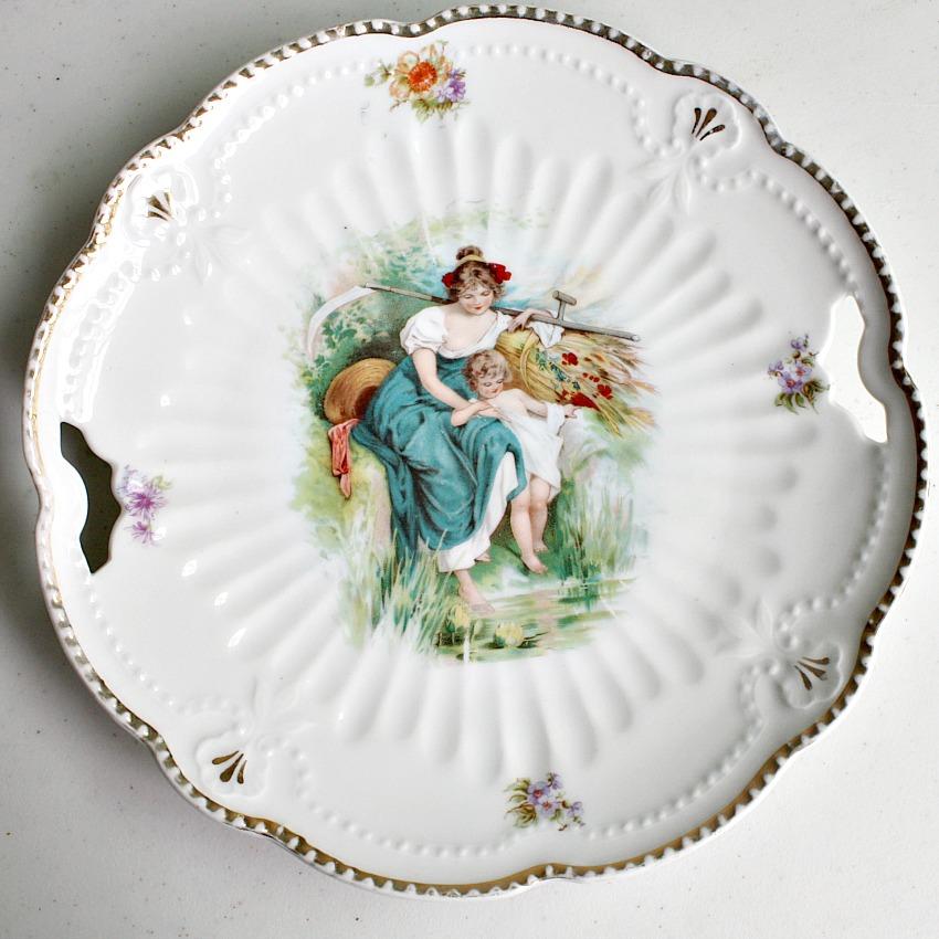 Antique Maiden and Cherub Harvest Cake Plate