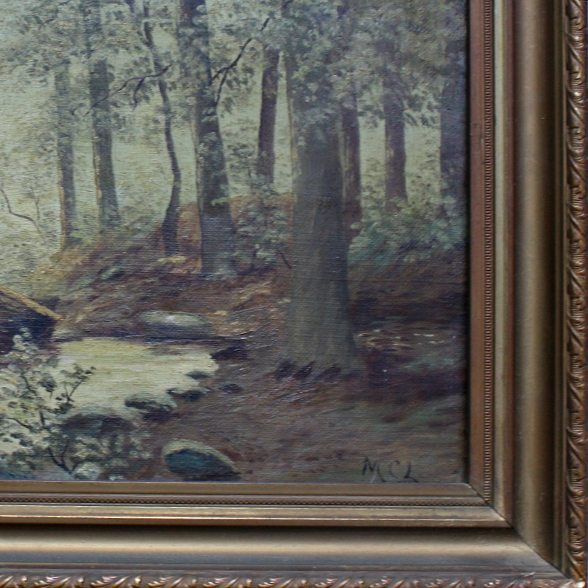 Antique Signed Oil Painting of Forest and Stream