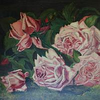 Antique Oil Painting of Roses with Original Gilt Frame