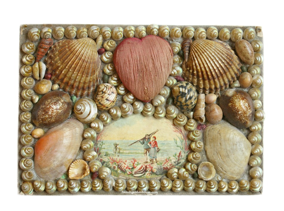 19th Century French Shell Art Sewing Box Heart Pincushion