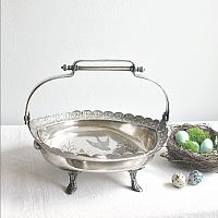 Antique Aesthetic Silver Plate Cake Basket Birds Nest