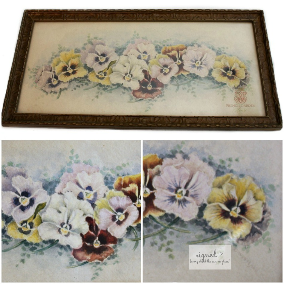 Antique Original Watercolor Signed Pansies Still Life Painting