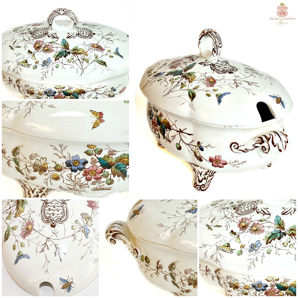19th Century Floribel Polychrome Ironstone Tureen