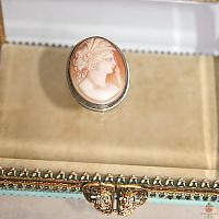 Antique Silver Framed Shell Carved Cameo Brooch Flora