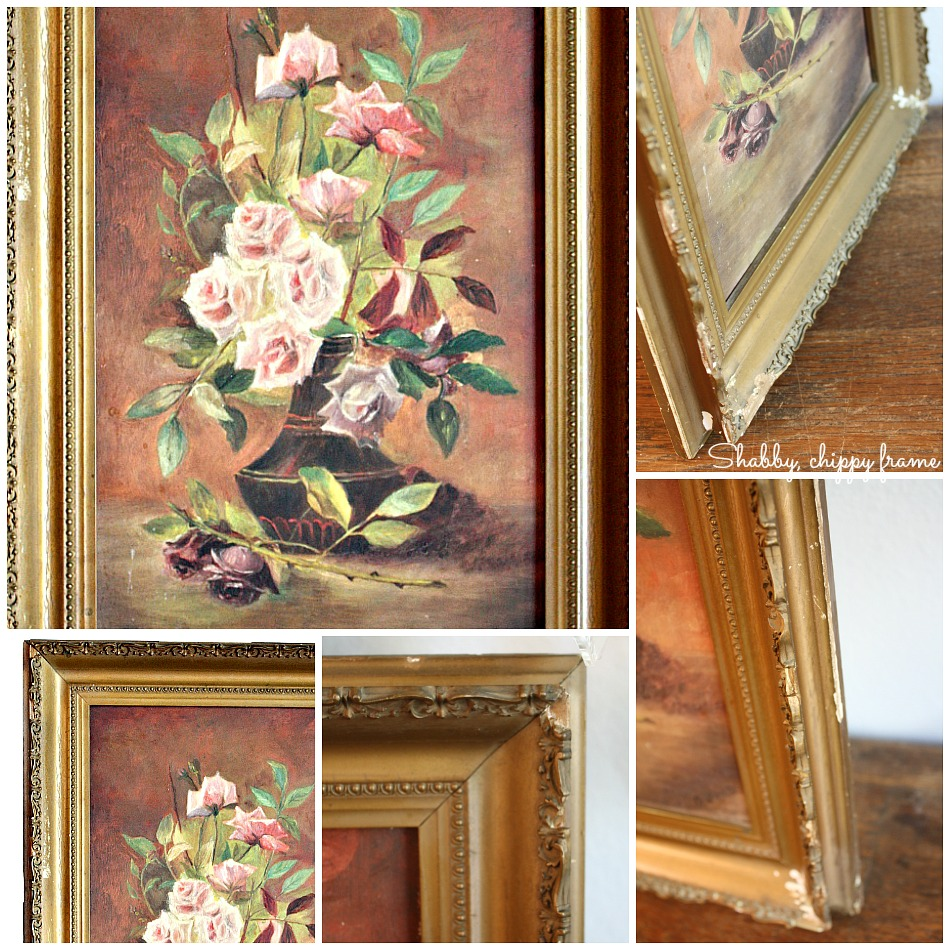 Antique 19th Century Oil Painting Pink Lavender and Purple Roses