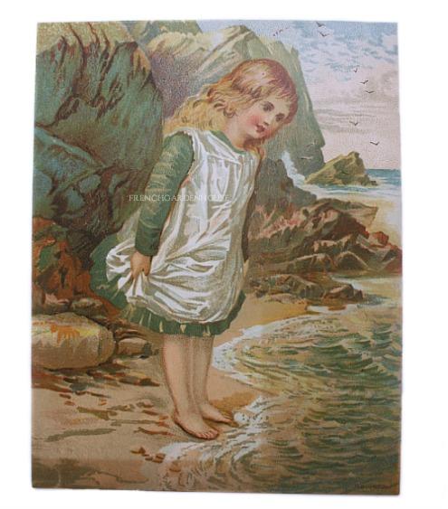 Antique Victorian Scrap Chromolithograph Girl at Ocean