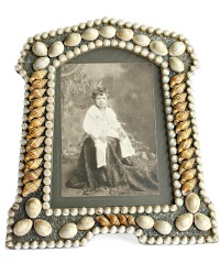 Antique Large Victorian Shell Art Picture Frame