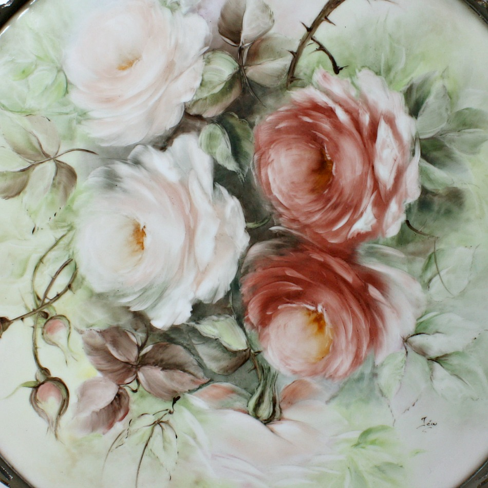 Antique Hand Painted Rose Porcelain Mounted Tray Signed