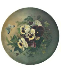 Antique Shabby Papier Mache Pansies Painting