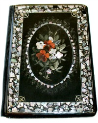 19th Century Black Lacquered Mother of Pearl Inlaid Book Cover