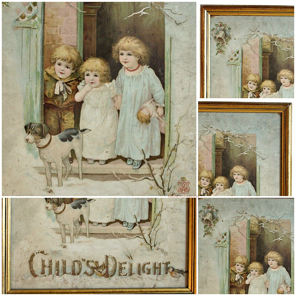 Antique Framed Chromolithograph Embossed Print Child's Delight