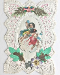 Antique Victorian Paper Lace Scrap Valentine Cherubs
