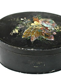 19th Century Black Mother of Pearl Floral Toleware Tea Caddy Tin