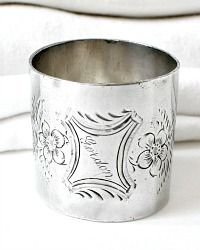 Antique Floral Monogram Napkin Ring Silver Gordon