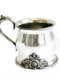 Antique Victorian Quadruple Silver Plate Baby Cup Rose