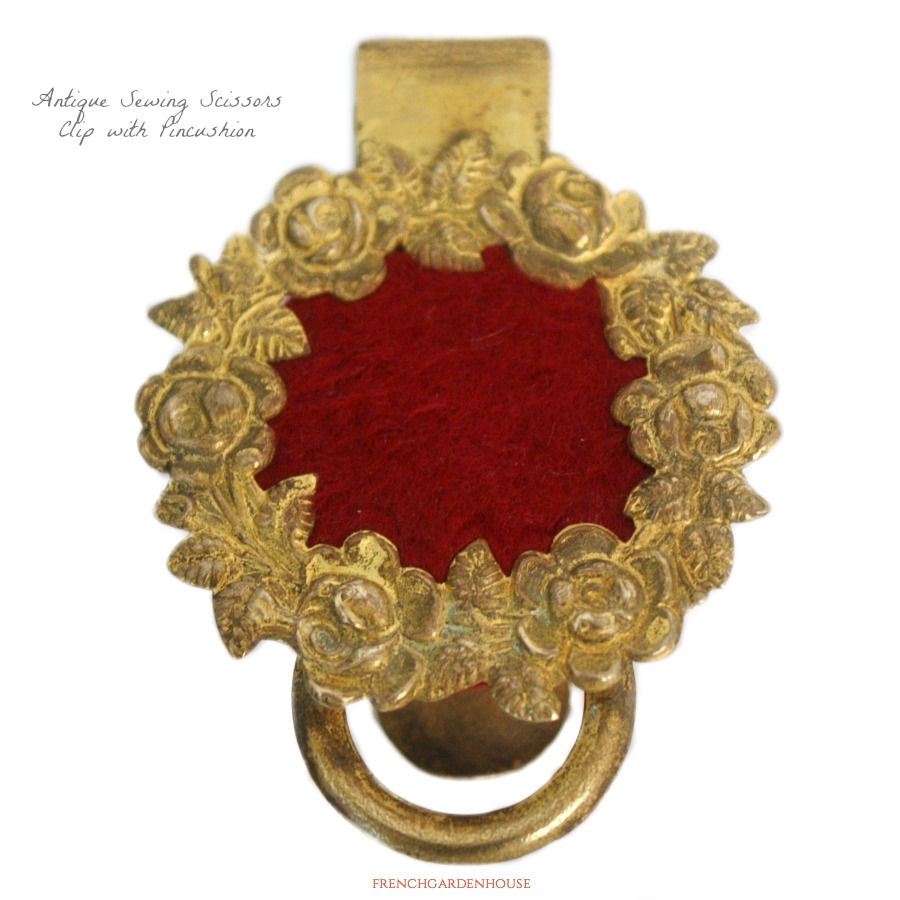Antique Gilt Sewing Scissors Holder Clip with Pin Cushion Roses