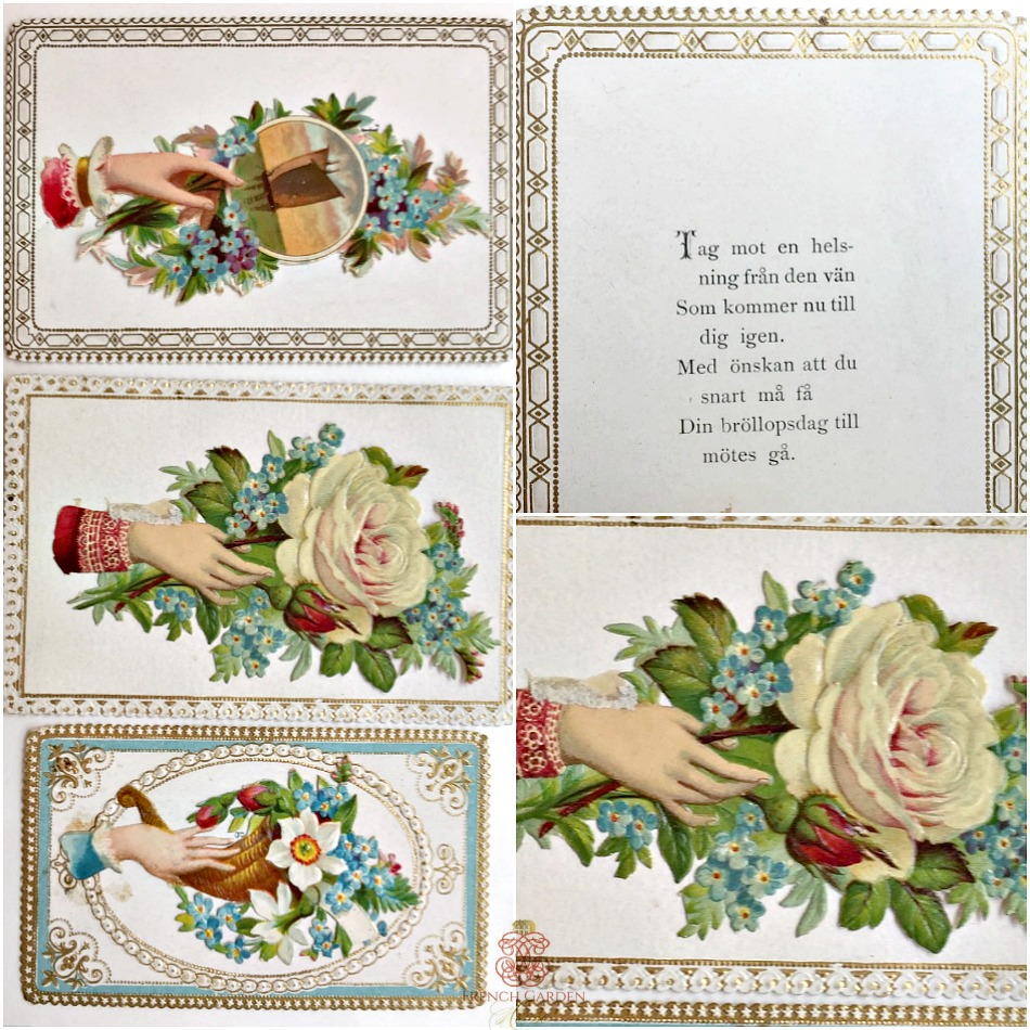 Antique Victorian Swedish Scrap Cards Set of 3
