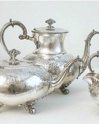 Antique Silver Plate Monogram Tea Set