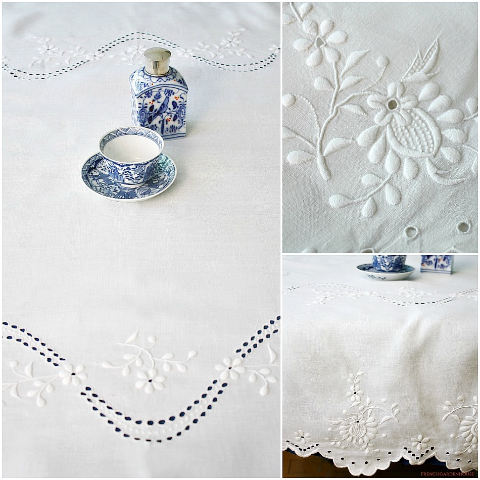 Antique Cutwork Embroidered Floral White Supper Tablecloth